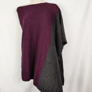 celeste poncho cape purple & gray wool blend